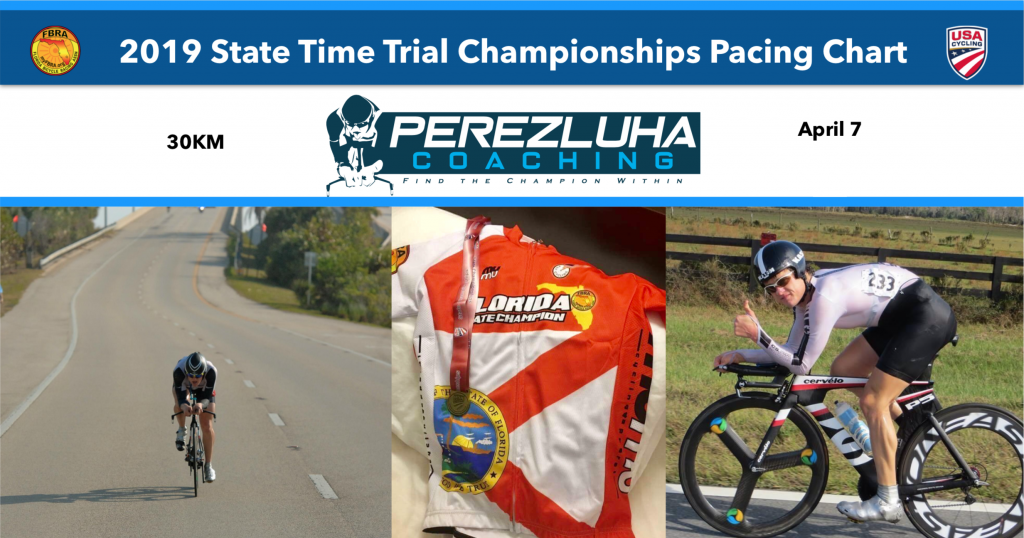 3d2e8c2b0 2019 Florida State Time Trial Championships 30KM Pacing Chart